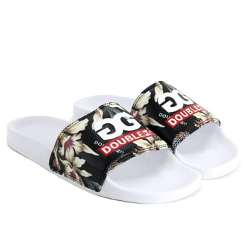 CHINELO DOUBLE-G SLIDE LOGO FLORAL
